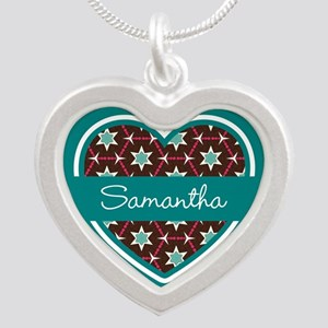 Personalized Teal Heart Patt Silver Heart Necklace