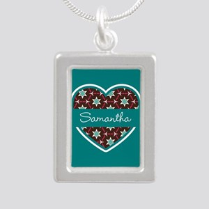 Personalized Teal Heart Silver Portrait Necklace