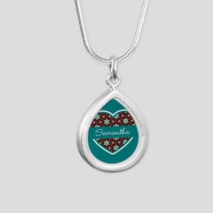 Personalized Teal Heart Silver Teardrop Necklace