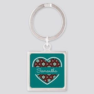 Personalized Teal Heart Pattern Square Keychain