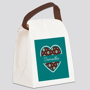 Personalized Teal Heart Pattern Canvas Lunch Bag