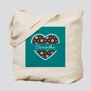 Personalized Teal Heart Pattern Tote Bag