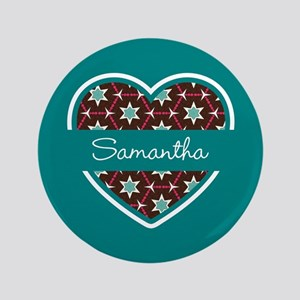 Personalized Teal Heart Pattern Button