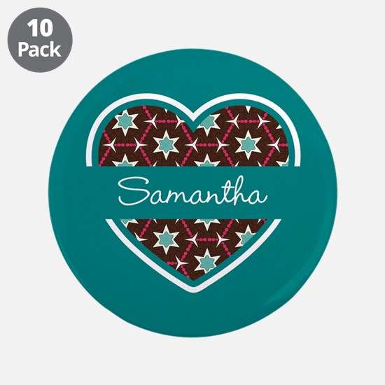 """Personalized Teal Heart Patt 3.5"""" Button (10 pack)"""