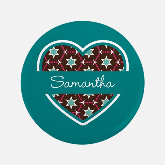"""Personalized Teal Heart Pat 3.5"""" Button (100 pack)"""