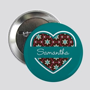 "Personalized Teal Heart Pattern 2.25"" Button"