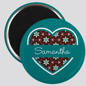 Personalized Teal Heart Pattern Magnet