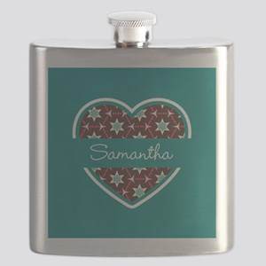 Personalized Teal Heart Pattern Flask