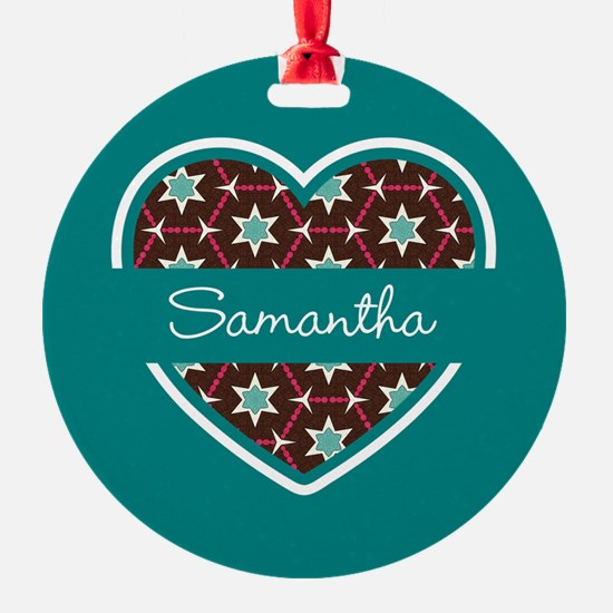 Personalized Teal Heart Pattern Ornament