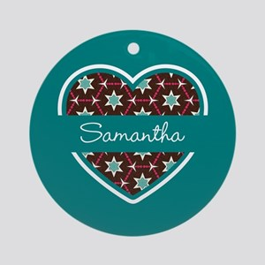 Personalized Teal Heart Pattern Ornament (Round)