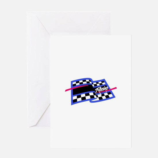Checkered Flag Name Drop Greeting Cards