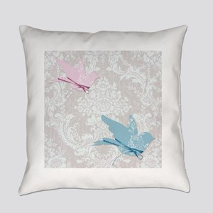 Elegant Damask Floral Birds Everyday Pillow