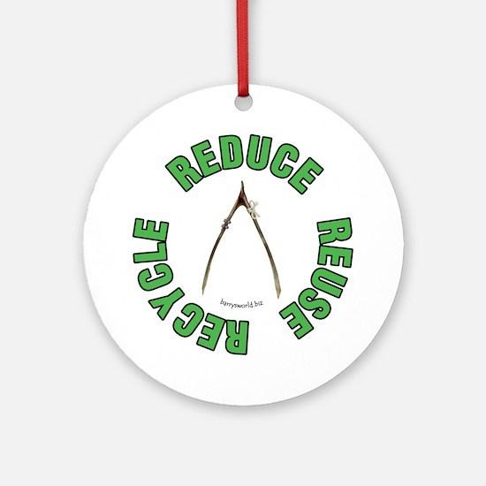 Recycled Wishbone 2 Ornament (Round)