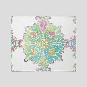 Moroccan Mandala Pattern Rainbow Watercolor Throw