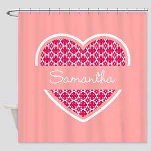 Personalized Name Coral Heart Patte Shower Curtain