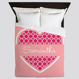 Personalized Name Coral Heart Pattern Queen Duvet