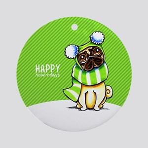 Pug Scarf Christmas Ornament (Round)