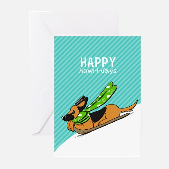 GSD Sled Christmas Greeting Cards