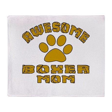 Awesome Boxer Mom Dog Designs Throw Blanket
