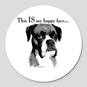 Boxer Happy Face Round Car Magnet