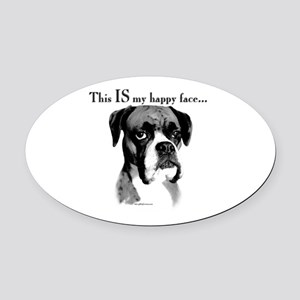 Boxer Happy Face Oval Car Magnet