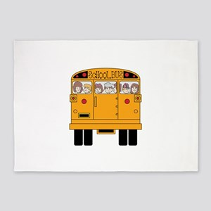 School Bus Rear 5'x7'Area Rug