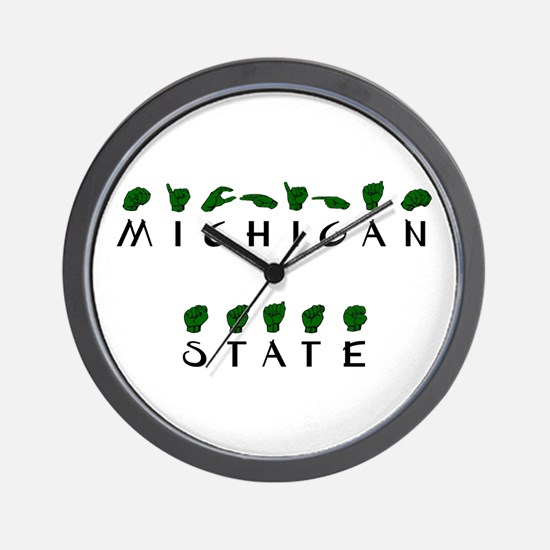 """""""Michigan State"""" Fingerspelled Wall Clock"""