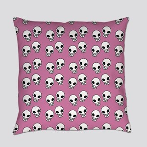 Pink Skull Print Everyday Pillow
