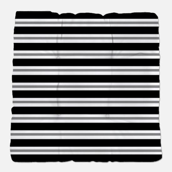 Black Gray Stripes Tufted Chair Cushion
