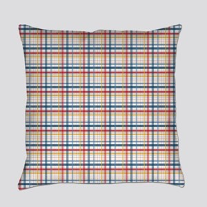 Red Blue Orange Plaid Print Everyday Pillow