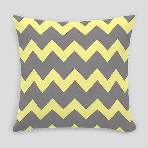 Yellow Gray Chevrons Everyday Pillow