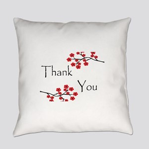 Red Cherry Blossoms Thank You Everyday Pillow