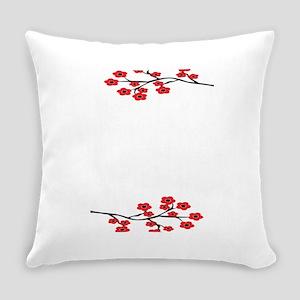 Red Cherry Blossom Invite Everyday Pillow