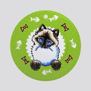 Ragdoll Ragamuffin Bones Wreath Ornament (Round)