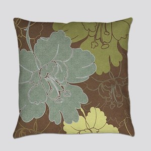 Blue Brown Hibiscus Everyday Pillow