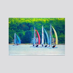 Colorful Sailboats Rectangle Magnet