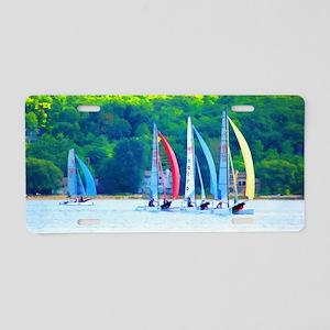 Colorful Sailboats Aluminum License Plate
