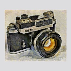 Vintage SLR camera with selenium met Throw Blanket