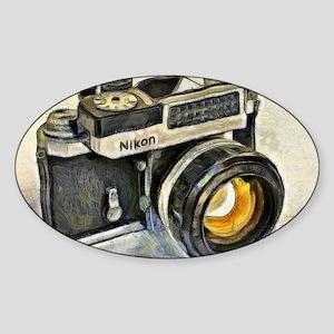 Vintage SLR camera with selenium me Sticker (Oval)