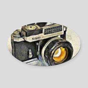Vintage SLR camera with selenium m Oval Car Magnet