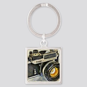 Vintage SLR camera with selenium m Square Keychain