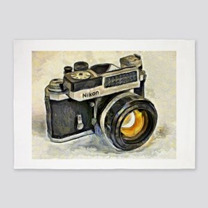 Vintage SLR camera with selenium me 5'x7'Area Rug