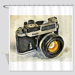 Vintage SLR camera with selenium me Shower Curtain
