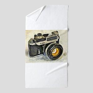 Vintage SLR camera with selenium meter Beach Towel