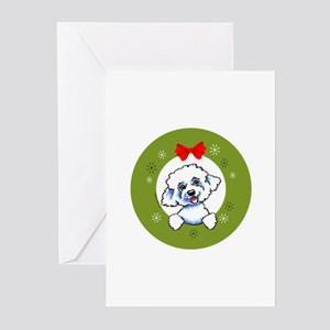 Bichon Frise Classic Wreath Greeting Cards