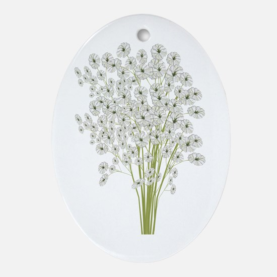 Baby's Breath Illustration Ornament (Oval)