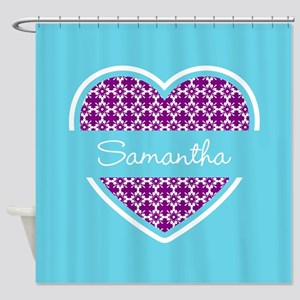 Personalized Purple Turquoise Heart Shower Curtain