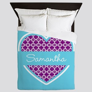 Personalized Purple Turquoise Heart Pa Queen Duvet