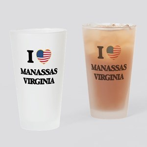 I love Manassas Virginia Drinking Glass