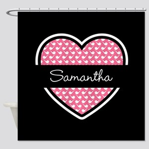 Black Pink Heart Smoke Pipe Pattern Shower Curtain